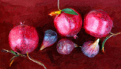 Figs And Pomegranates Art Print by Ron Regalado
