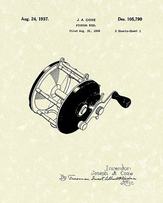 Fishing Reel 1937 Patent Art Art Print by Prior Art Design