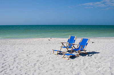 Reclining Chairs Photograph - Florida Sanibel Island Summer Vacation Beach by ELITE IMAGE photography By Chad McDermott
