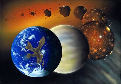 Accreting Photograph - Formation Of The Earth, Artwork by Richard Bizley
