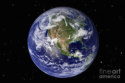 Photograph - Full Earth Showing North America by Stocktrek Images
