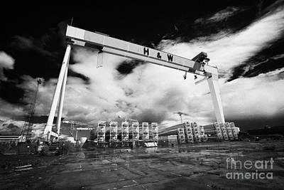 Giant Harland And Wolff Crane Goliath At Shipyard Titanic Quarter Queens Island Belfast Art Print by Joe Fox