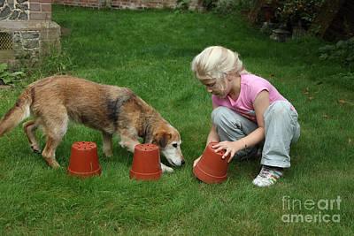 Girl Playing With Dog Art Print