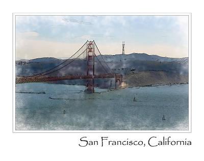 Bay Area Digital Art - Golden Gate Bridge by Brandon Bourdages