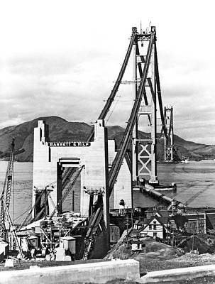 Works Progress Administration Photograph - Golden Gate Bridge Work by Underwood Archives