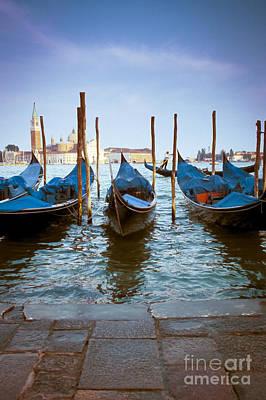 Flagstone Photograph - Gondolas At Piazza San Marco Venice by Gordon Wood