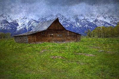 Grand Teton Iconic Mormon Barn Spring Storm Clouds Art Print by John Stephens