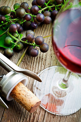 Wine Corks Royalty Free Images - Grapes and red wine Royalty-Free Image by Kati Finell