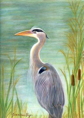 Great Blue Heron Watches By Pond Art Print
