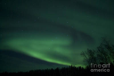 Yellowknife Photograph - Green Aurora Above Far Lake by Yuichi Takasaka