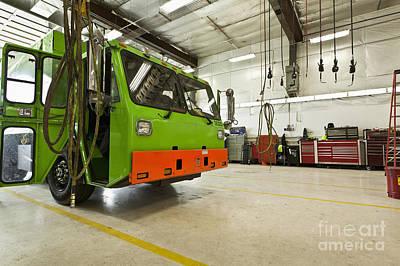 Green Garbage Truck Maintenance Art Print by Don Mason