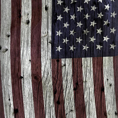 Photograph - Grungy Textured Usa Flag by John Stephens