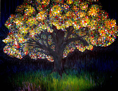 Art Print featuring the painting Gumball Tree 0001 by Monica Furlow