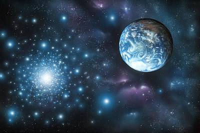 Blue Giant Star Photograph - Habitable Alien Planet, Artwork by Richard Bizley