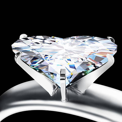 Love Ring Photograph - Heart Diamond by Setsiri Silapasuwanchai