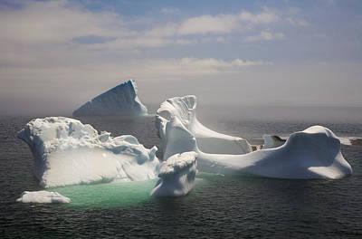 Jul08 Photograph - Icebergs In Fog, Quirpon Island by John Sylvester