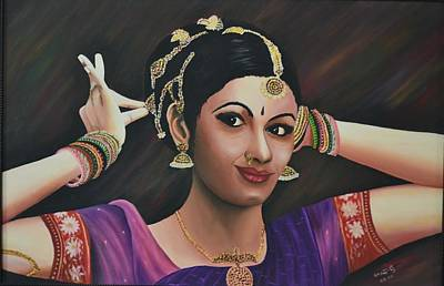 Indian Dancer Art Print by Usha Rai