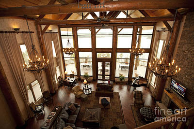 Interior Of Large Wooden Lodge Art Print