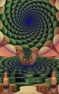 Cs5 Digital Art - Kaleidoscope Pond by Robin Meade