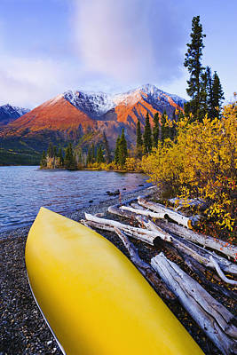 Kathleen Lake And Mountains, Kluane Art Print by Yves Marcoux