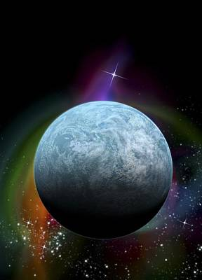 Constellation Digital Art - Kepler-20f Exoplanet, Artwork by Victor Habbick Visions