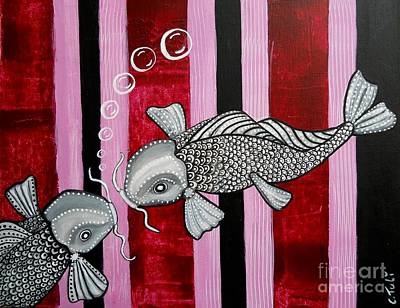Painting - 2 Koi 's In Love by Claudia Tuli