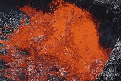 Lava Bursting At Edge Of Active Lava Art Print by Richard Roscoe