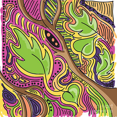 Scribbles Digital Art - Leaves by HD Connelly