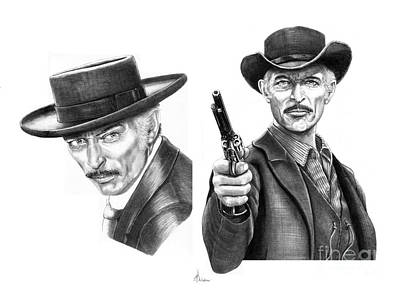 Outlaw Drawing - Lee Van Cleef by Murphy Elliott