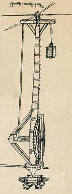 Leonardo Da Vincis Lifting Gear Print by Science Source