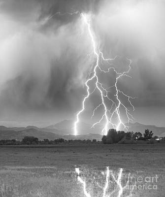 Night Sky Photograph - Lightning Striking Longs Peak Foothills 6 by James BO  Insogna