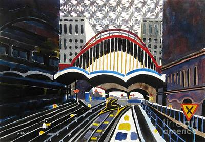 London Canary Wharf Station Art Print by Lesley Giles