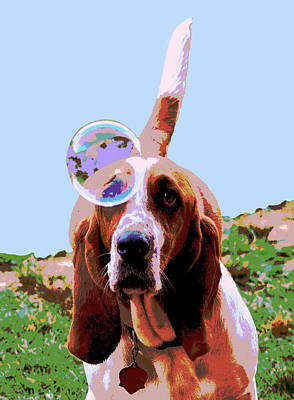 Funny Dog Digital Art - Maisie In Blue by Dorrie Pelzer