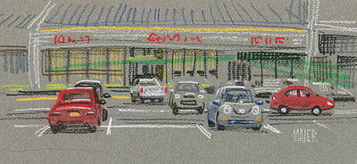 Parking Painting - Mall Parking by Donald Maier