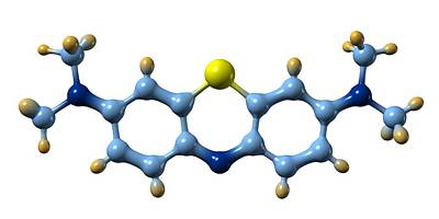 Methylene Blue, Molecular Model Art Print by Dr Mark J. Winter
