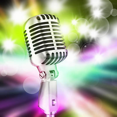 Microphone On Stage Art Print by Setsiri Silapasuwanchai