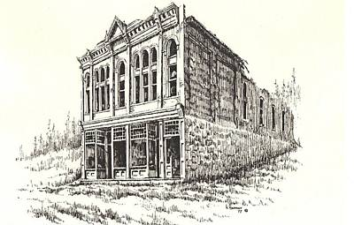 Abandoned Building Drawing - Miners Union Hall Granite Ghost Town Montana by Kevin Heaney