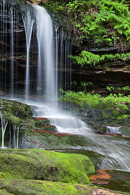 Photograph - Mossy Green Canyon Waterfall Rock by John Stephens