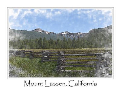 Snow Digital Art - Mount Lassen California Volcanic National Park by Brandon Bourdages