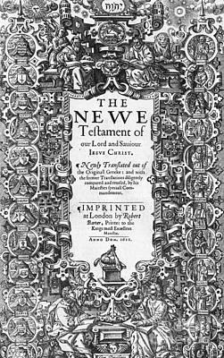 New Testament, King James Bible Print by Photo Researchers