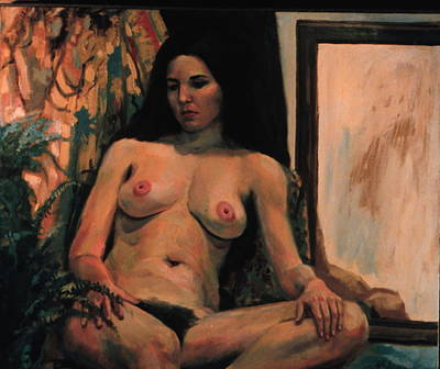 Painting - Nude With Mirror by Sid Solomon