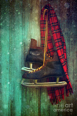 Old Ice Skates Hanging On Barn Wall Art Print by Sandra Cunningham