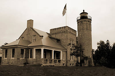 Photograph - Old Mackinac Point Light House Michigan by LeeAnn McLaneGoetz McLaneGoetzStudioLLCcom