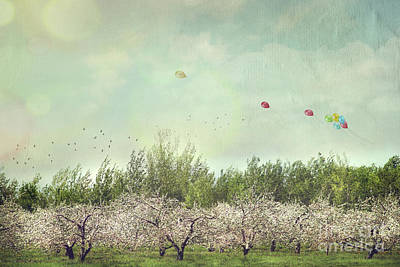 Orchard Of Apple Blossoming Tees Art Print by Sandra Cunningham
