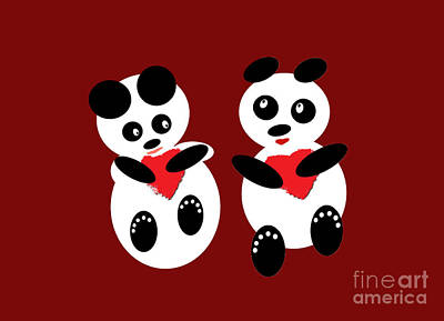 Photograph - 2 Pandas In Love by Ausra Huntington nee Paulauskaite
