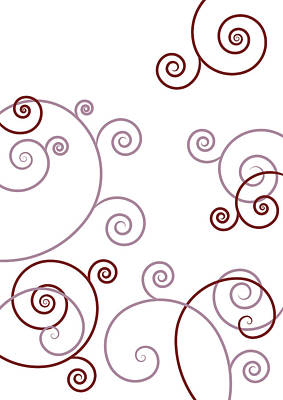 Flourishes Drawing - Pink And Red Abstract by Frank Tschakert