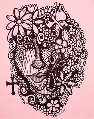Conscious Drawing - Pink Lady  by Gerri Rowan