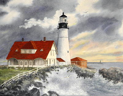 Portland Head Lighthouse Painting - Portland Head Lighthouse by Lizbeth McGee