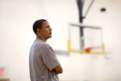 President Barack Obama Watches Art Print by Everett