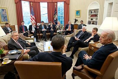 President Obama And Vp Joe Biden Meet Art Print
